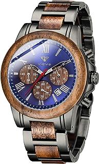 Montre en Bois et en Acier Inoxydable pour Hommes VICVS, chronographe 6 Cadrans chronographe Quartz Loisirs Affaires Multi...