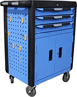 "Titan Distributors Inc. 32"" 3 Drawer Mobile Tool Chest Cabinet with Double Doors for Mechanics and Technicians"