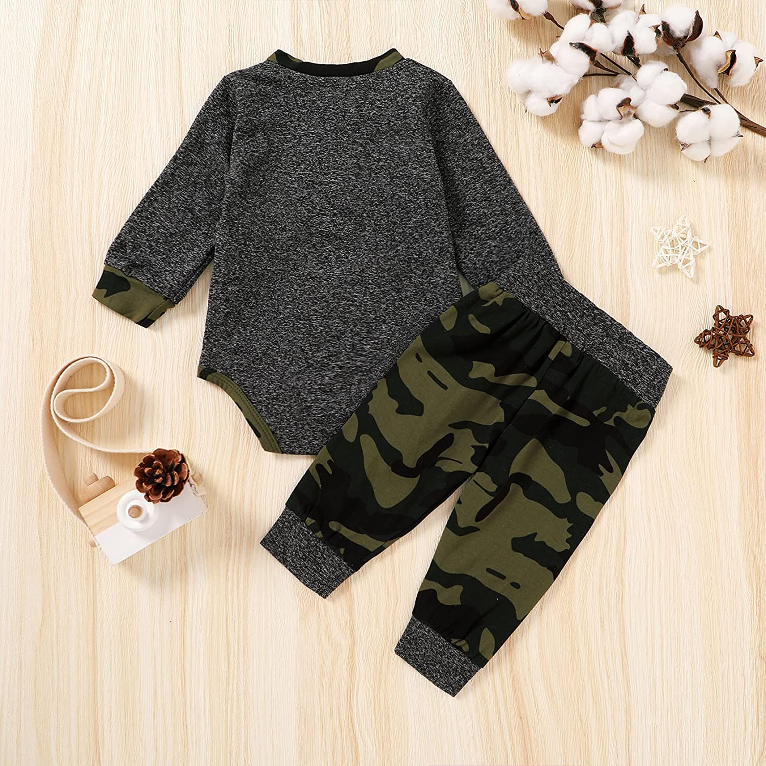Newborn Baby Boy Clothes Long Sleeve Button Romper Top+Plaid Pants 2PCS Infant Fall Winter Outfit