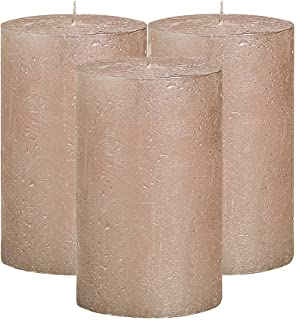 BOLSIUS Unscented Pillar Candles - Rustic Full Metallic Rose Gold Candle - Decorative Candles Set Of 3 - Clean Burning Can...