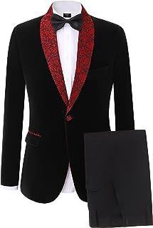Solovedress Men's Two-Pieces Tuxedo Suits One Button Slim Fit Business Suits Blazer