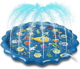 Winique Splash Play Mat Almohadilla de Rociadores para Niños 170 cm / 67 '' Fuente de Patio Inflable Colchoneta de Juego Piscina de Agua para Exteriores Rociadores (Azul)