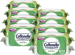 Cottonelle Flushable Wipes, Aloe & Vitamin E, 2 Flip-Top Packs, 42 Wipes per Pack (84 Wipes Total)