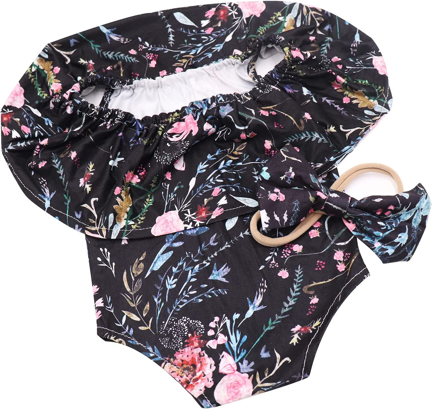 Newborn Girl Photography Prop Black Floral Romper with Matching Bowtie Playsuit Headband Outfits