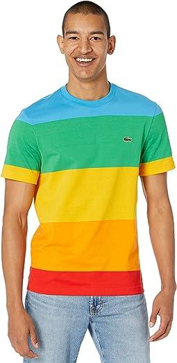 Short Sleeve Color-Blocked Rainbow Polaroid T-Shirt
