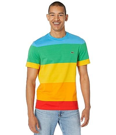 Lacoste Short Sleeve Color-Blocked Rainbow Polaroid T-Shirt Men