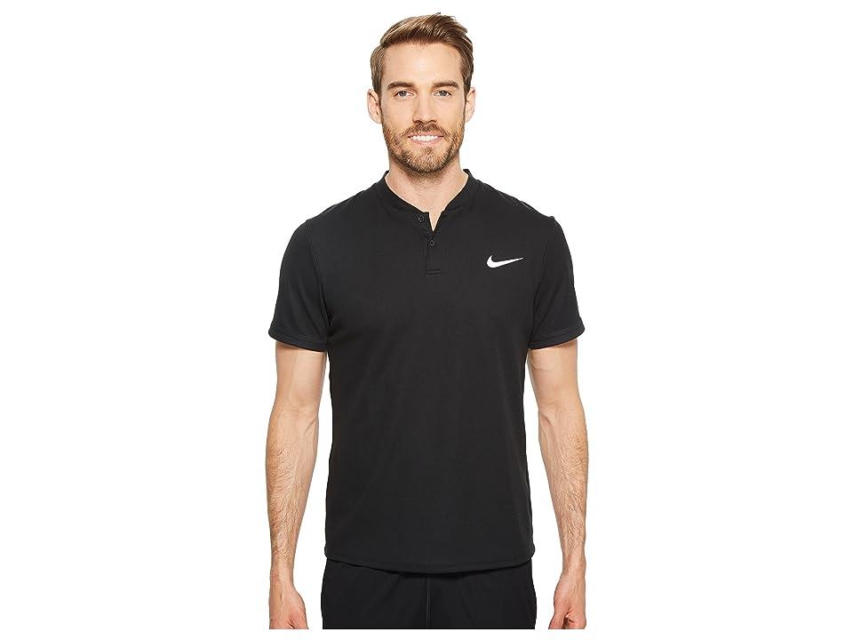 Nike Court Dry Advantage Solid Tennis Polo (Black/Black/Black) Men