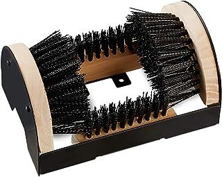 Relaxdays Cepillo Zapatos para Exterior, Madera-Metal, Negro-Marrón, 11,5 x 23 x 15 cm