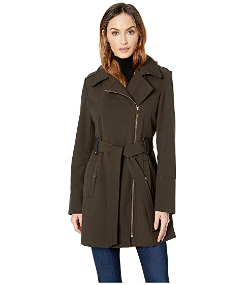 Asymmetrical Belted Softshell With Leopard Lining, Loden