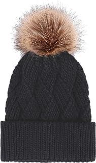 Arctic Paw Diamond Weave Knit Beanie with Faux Fur Pompom