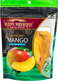 Klein's Naturals natural dried mango no sugar added, Kosher Certified Dried Fruit, Dry Mango Slices, Resealable Pouches of dried mangoes 7-Ounce (Pack of 3)