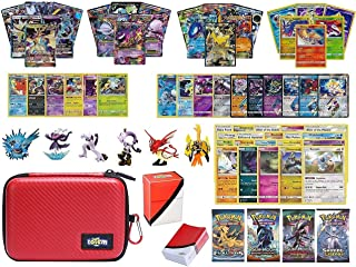 Totem World Pokemon Premium Collection 100 Cards with GX Mega EX Shining Holo 10 Rares 4 Booster Pack - 100 Sleeves - Poke Ball Theme Card Case - Deck Box and Figure