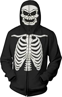 Glow in The Dark Skeleton Mask Full Zip Up Hoodie Halloween Costume for Men (Adult Costume)