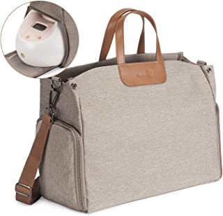 Momcozy Breast Pump Bag, Large Capacity Diaper Bag Nappy Tote for Travel (Brown) – Wide Open & Waterproof, Fits Most Brands Breast Pumps Like Medela Spectra, Lansinoh, Philips Avent etc.