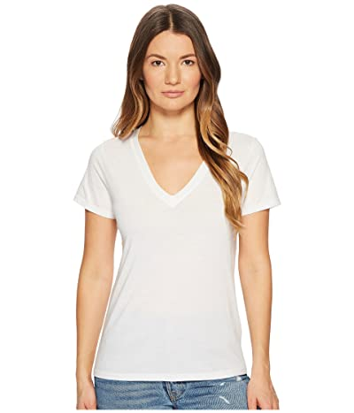 Vince Essential V-Neck Top (Optic White) Women