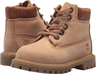 "Timberland Kids Unisex 6"" Premium Waterproof Boot (Big Kid) Iced Coffee Waterbuck/Exotic Collar"