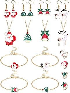 Adramata 16 Pezzi Set di Gioielli Natalizi per Donna Albero di Natale Verde Babbo Natale Elk Bell Classic Holiday Collane ...