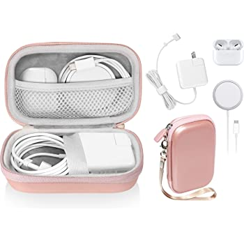 Handy Case for MacBook Air Power Adapter, MagSafe, MagSafe2, iPhone 12/ 12 Pro MagSafe Charger, USB C Hub, Type C Hub, USB Multi Ports Type c hub, Detachable Wrist Strap, mesh Pocket (Rose Gold)