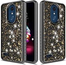 Townshop LG K30 Case, Glitter Bling Heavy Duty Dual Layer Shockproof Bumper Case for LG K30 / LG Premier Pro/LG K10 2018 - Black/Gold