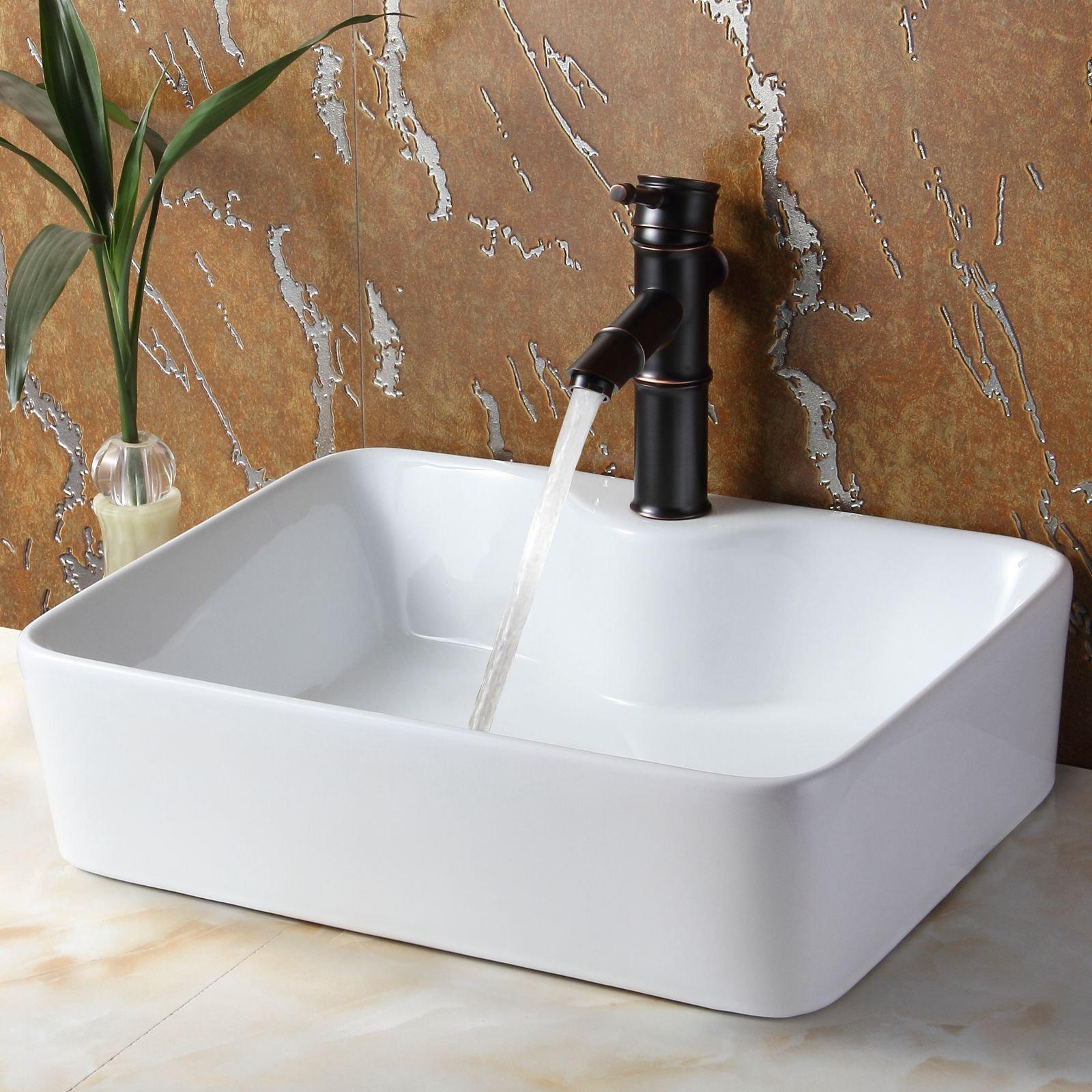 Bathroom Rectangle Porcelain Ceramic Vessel