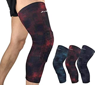 HiRui Knee Pad, Knee Brace Knee Support, Honeycomb Crashproof Football Basketball Kneepad, Long Compression Leg Sleeves for Running Cycling Pain Relief, Unisex-Color as Shown (Single)