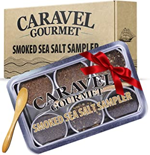 The Smoked Sea Salt Sampler Set - 6 Varieties in Reusable Tins with Bamboo Spoon: Naturally Smoked Bacon, Bacon Chipotle, ...