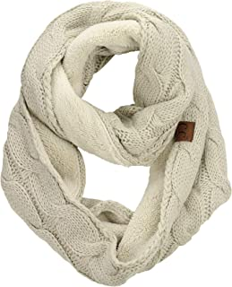 Women's Winter Cable Knit Sherpa Lined Warm Infinity Pullover Scarf