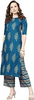 Star Fashions Women's Rayon A-Line Kurta & Palazzo/Ladies Kurta & Palazzo/Kurta & Palazzo Set/Kurti & Palazzo/Block Print ...