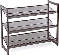 SONGMICS 3-Tier Stackable Metal Rack Flat & Slant Adjustable Shoe Organizer Shelf for Closet Bedroom Entryway 29.1 x 12.2 x 24.7 Inches Bronze ULMR03A