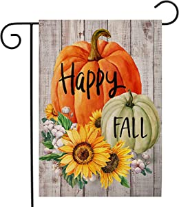 Happy Fall Garden Flag Pumpkin Sunflower Double Sided Vertical Yard Flags Outdoor Decoration 12 x 18 inch