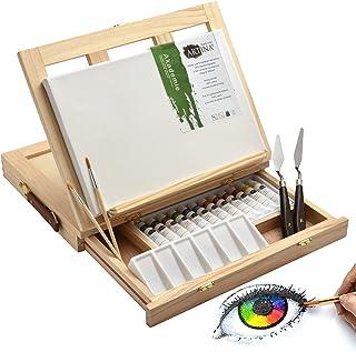 Artina Ensemble pour Peinture Acrylique Milano 19 Pieces avec chevalet de Table, Toile 20x30 cm, Peinture, pinceaux, Palet...