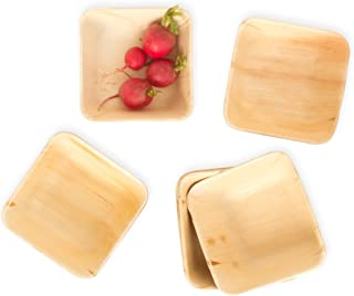 Leafily Palm Leaf Bowls - 5.5 inch Square - Heavy Duty - Elegant - 100% Compostable - Better than Bamboo or Wood - Disposable - Biodegradable - Premium Party Bowls - USDA Certified - 22 Count