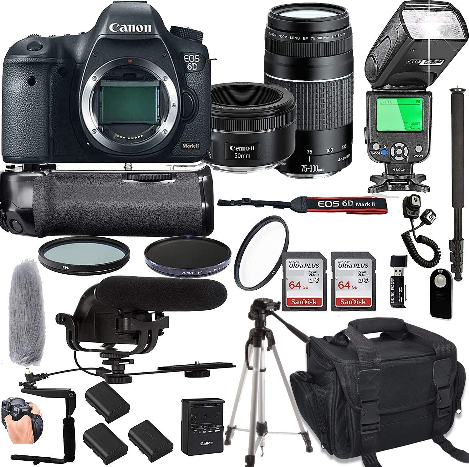Canon Max 49% OFF EOS 6D Mark II with 50mm overseas f 1.8 + Lens Prime I STM 75-300mm