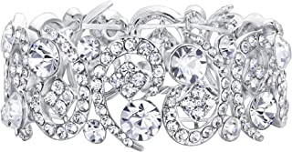 Women's Clear Crystal Stunning Hollow Floral Wedding Bride, Bridesmaid Stretch Bracelet