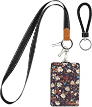 MJFloria Lanyard ID Badge Holder Case Credit Card Wallet with a Clear ID Window, Back Slots and a Neck Strap Lanyard for Women Girls Teens (Navy Floral)