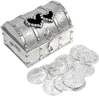 CB Accessories Wedding Unity Coin Set - Arras de Boda - Treasure Double Heart Chest Box with Decorative Rhinestone Crystals 68 (Silver)