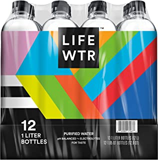 LIFEWTR, Premium Purified Water, pH Balanced with Electrolytes For Taste, 1 liter bottles - Pack of 12 (Packaging May Vary)