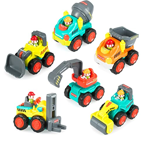 Pocket Car Toys, Sliding Vehicles Trucks Toy Sets for Baby Toddlers Over 18 Months – (Set of 6: Bulldozer, Excavator, Dumper, Cement Mixer, Forklift, Road Roller)