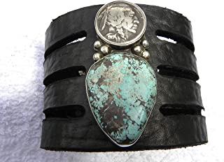 1919 authentic Buffalo Indian Nickel coin sterling silver turquoise ketoh Cuff large black Men thick Bracelet wristband Buffalo Bison leather customize to wrist size