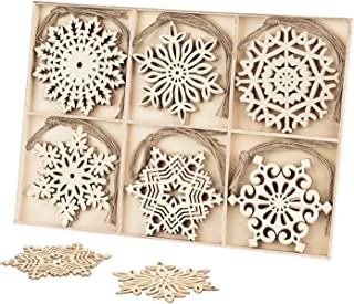 30pcs Wooden Snowflakes Ornaments, Binswloo 4 inch Christmas Ornaments Snowflakes Shaped Embellishments for Rustic Christmas Decoration DIY Crafts, with Storage Tray