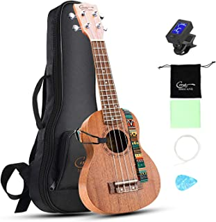Soprano Ukulele 21 inch Hricane Mahogany Ukeleles For Beginners Hawaiian Ukele with Ukulele Case and Ukele Strings Set