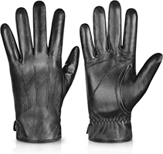 Genuine Sheepskin Leather Gloves For Men, Winter Warm Touchscreen Texting Cashmere Lined Driving Motorcycle Gloves By Alepo