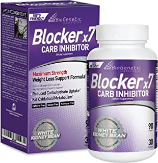 BioGenetic Labs Carb Blocker X7 - White Kidney Bean Cheat Pill - Keto-Friendly - Carb Blocker Pills for Women and Men - Ap...