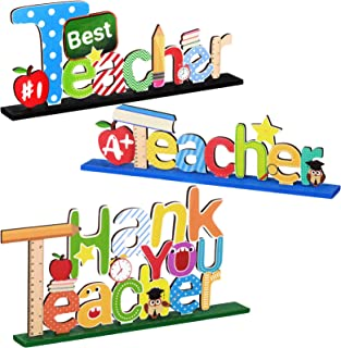 3 Pieces Teacher Table Toppers Ornaments Best Teacher and Thank You Teacher Wooden Centerpiece Sign Table Decorations for ...