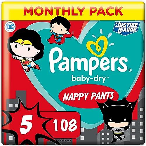 Pampers Couches-Culottes Baby-Dry Pants Taille 5 (12-17kg) Maintien 360° pour Éviter les Fuites, Faciles à Changer, É...