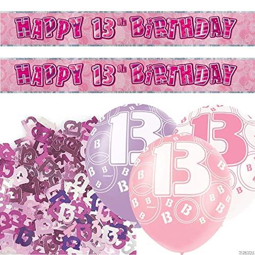 Unique BPWFA 4170 Glitz 13th Birthday Foil Banner Party Decoration Kit Pink