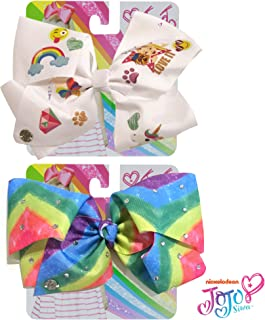 Jojo Siwa Bow for Girls Bundle, 2 Bows and 3 Pack Bracelet - Black Bow with Emoji Faces and Pink with Stars Hair Bow