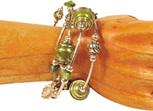 Lime Green Glass Pearl Shell Beaded Charm Bauble Wrap Coil Bracelet Bali Bay Trading Co