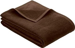 IBENA Plush Solid Color Cotton Blend Throw Blanket Porto - Chocolate