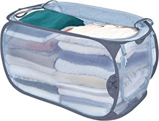 Smart Design Mesh Pop-Up Flip Laundry Hamper w/Easy Carry Handles & Side Zipper - Durable Fabric Collapsible Design - for Clothes & Laundry - Home (Holds 3 Loads) (15 x 25 Inch) [Teal]